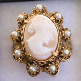 Vintage Florenza Shell Cameo Ring - Lady Slippers