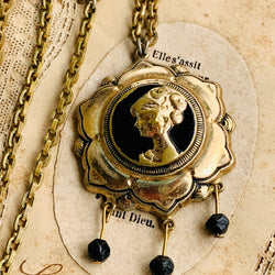 Art Nouveau Enamel Cameo Pendant Necklace