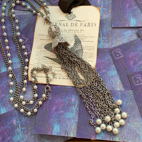 Vintage Silver Tone Faux Pearl Double Strand Necklace - Lady Slippers