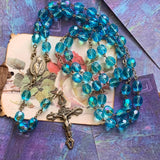 Vintage Sterling Silver Blue Bead Rosary - Lady Slippers