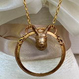 Vintage Florenza Ram's Head Magnifying Necklace