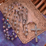 Vintage Italian Multi Faceted Glass Bead Rosary - Lady Slippers
