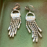 Vintage Long Dangling Rhinestone Earrings - Lady Slippers