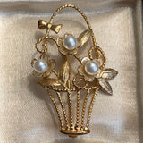 Creed Sterling Silver Gold Overlay Floral Faux Pearl Basket Pin