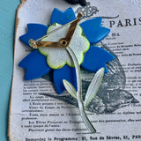 Modern Looking Thermoset Enamel Flower Pin