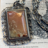 Uniquely Lady Slippers Italian Agate Pendant Necklace - Lady Slippers