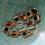 Sterling Silver Onyx & Art Glass Cabochon Bracelet - Lady Slippers