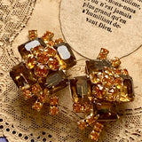 Vintage Light and Dark Topaz Rhinestone Clip Earrings - Lady Slippers