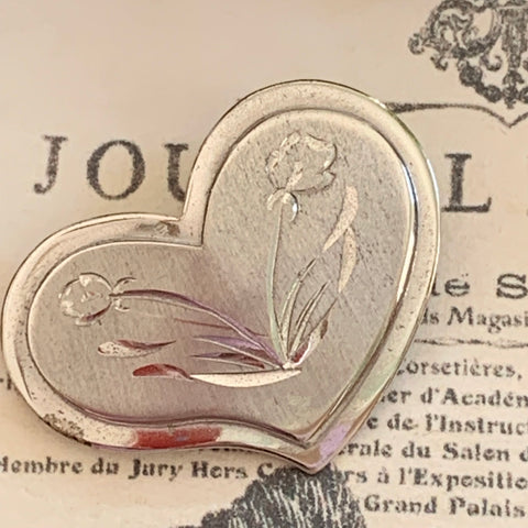 Vintage Beau Sterling Silver Heart Pin - Lady Slippers