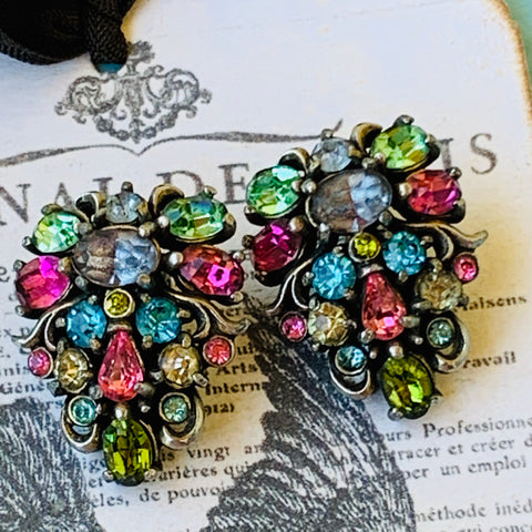 Hollycraft 1950 Pastel Rhinestone Earrings