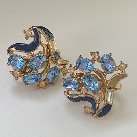 Vintage Trifari Soft Blue & Clear Rhinestone Earrings - Lady Slippers