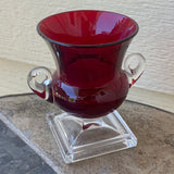 Antique Red and Clear Double Handled Glass Vase