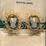 Vintage Reverse Carved Glass Cameo & Heart Shaped Scroll Earrings