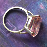 Art Deco Sterling Silver Pink Paste Ring - Lady Slippers