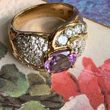 Vintage Gilt Sterling Silver Amethyst & CZ Ring - Lady Slippers