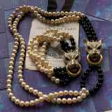 Vintage Rhinestone Panther Necklace & Bracelet Set - Lady Slippers