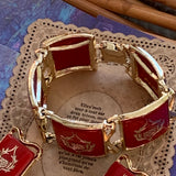 Vintage Signed Pam Red Heraldic Plastic Bracelet & Earring Set - Lady Slippers