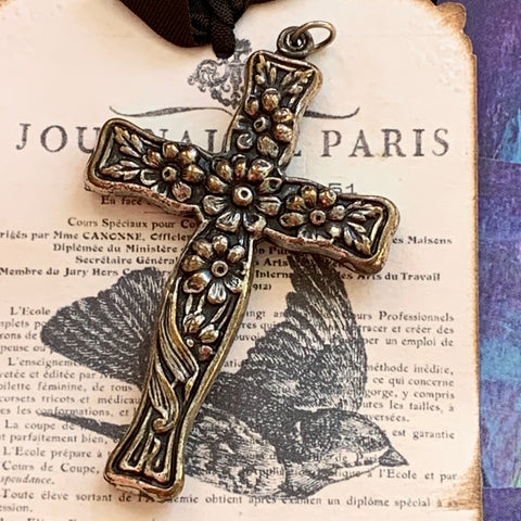 Victorian Silver Plated Embossed Cross Pendant - Lady Slippers