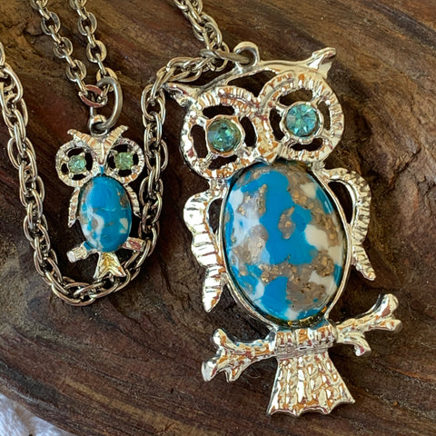 Vintage Faux Turquoise Mama & Baby Owl Double Strand Necklace