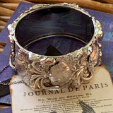 Vintage  Unsigned WHITING & DAVIS Floral Scroll Bangle Bracelet - Lady Slippers