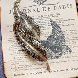 Vintage Beau Sterling Silver Paisley Leaf Pin - Lady Slippers