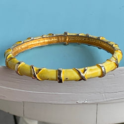 Vintage Zantall Yellow Enamel Bangle Bracelet