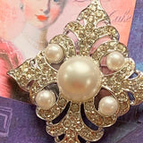 Vintage Sarah Coventry Faux Pearl Encrusted Rhinestone Pin - Lady Slippers