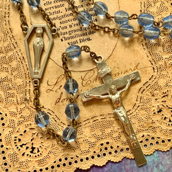 Modern Looking Periwinkle Blue Glass Bead Rosary - Lady Slippers