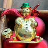 Vintage Gerry's Snowman on Skis Pin