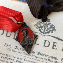 Vintage 1930's Italian Sacred Heart of Jesus Religious Medal - Lady Slippers