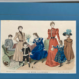 Antique 1897 La Mode Illustree French Fashion Plate Family
