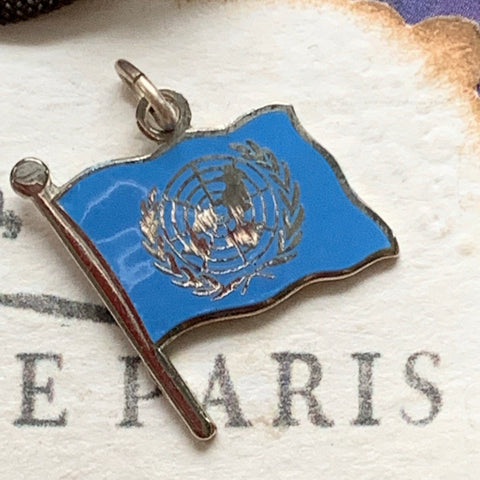 Vintage Sterling Silver & Enamel United Nations Charm - Lady Slippers