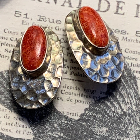 Vintage Sterling Silver & Red Stone Hand Hammered Earrings - Lady Slippers