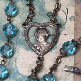 Antique Blue Crystal Bead Rosary - Lady Slippers
