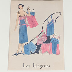 Antique Les Lingeries Hand Colored French Print