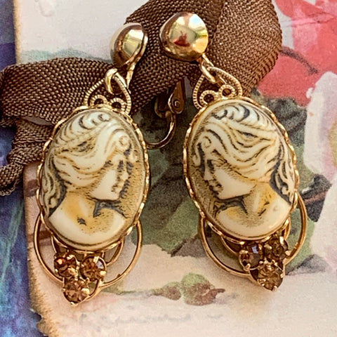 Vintage Light Dark Topaz Rhinestone Heart Shape Scrollwork Earrings - Lady Slippers