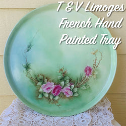 T & V Tressemanes & Vogt Limoges French Round Serving Dish Hand Painted