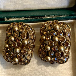 Vintage Carolee Rhinestone & Pearl Earrings