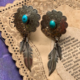 Vintage Southwestern Style Sterling Silver & Turquoise Earrings - Lady Slippers