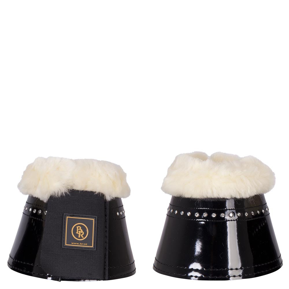 BR Glamour Patent Sheepskin Overreach Boots with Crystals