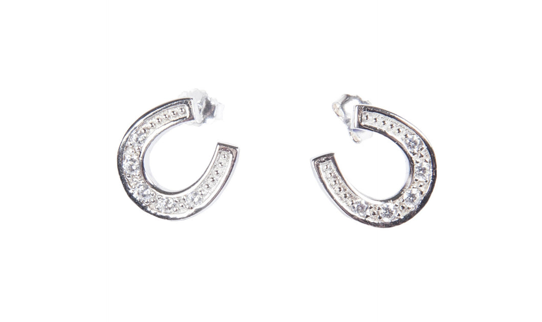 Sterling Silver Horseshoe Earrings with Diamantes