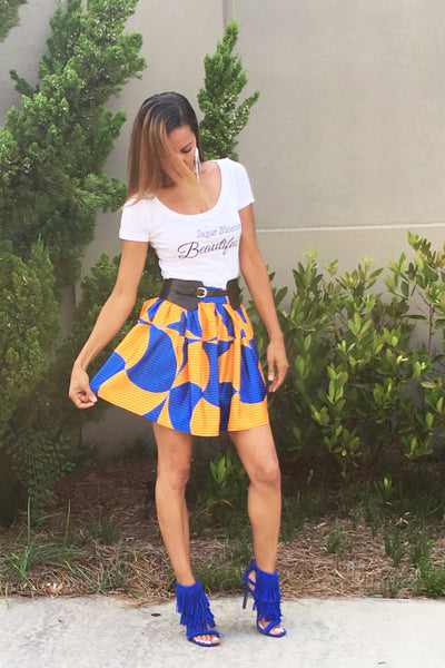 The Flirt and Flare Mini Skirt ~ Blue