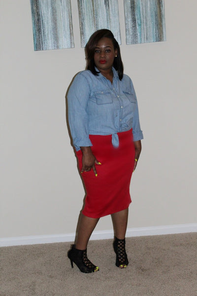 The Pencil Skirt ~ Curvy Chicks (Red)