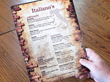 menu printed on digital toner canvas