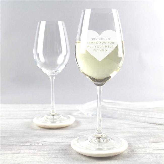 Teacher Heart Wine Glass