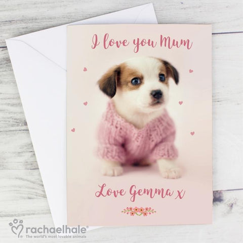 Personalised Rachael Hale Pink Puppy Card