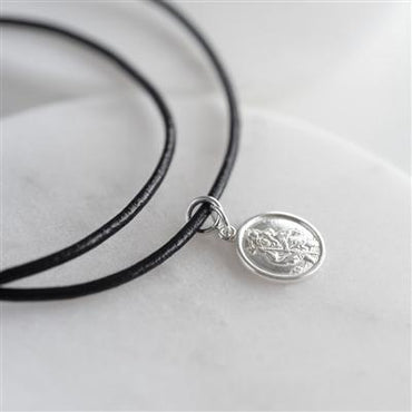St Christopher Sterling Silver & Leather Necklace