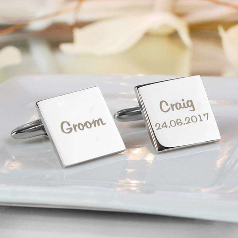 Personalised Wedding Role Square Cufflinks