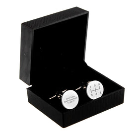 Gear Stick Round Cufflinks