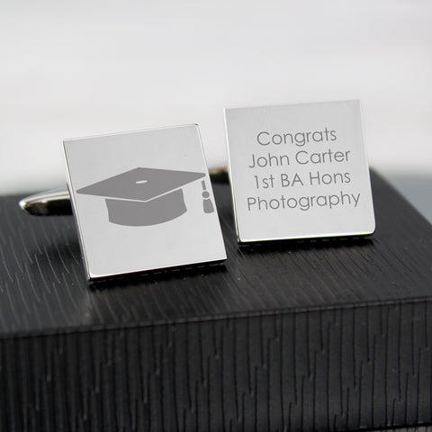 Personalised Graduation Square Cufflinks
